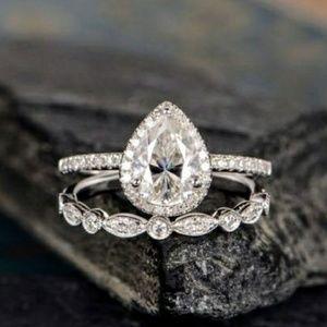 Jewelry - Teardrop Pear Milgrain Sterling Silver Ring Set